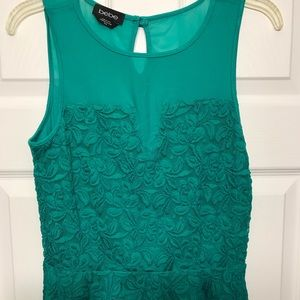 Foral Peplum Top with Mesh